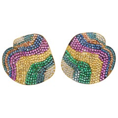 Contemporary 19.2 Karat Yellow Gold, Diamond, Emerald and Sapphire Earrings