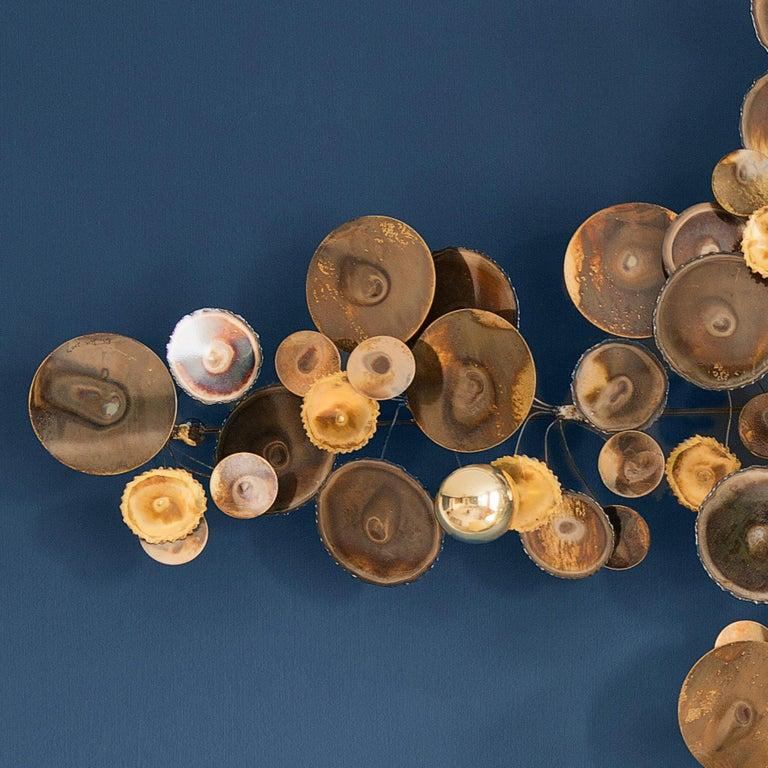 Contemporary Re-Edition Curtis Jere Raindrops Wall Sculpture in Brass In New Condition For Sale In Copenhagen K, DK