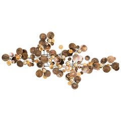 Contemporary Re-Edition Curtis Jere Raindrops Wall Sculpture in Brass