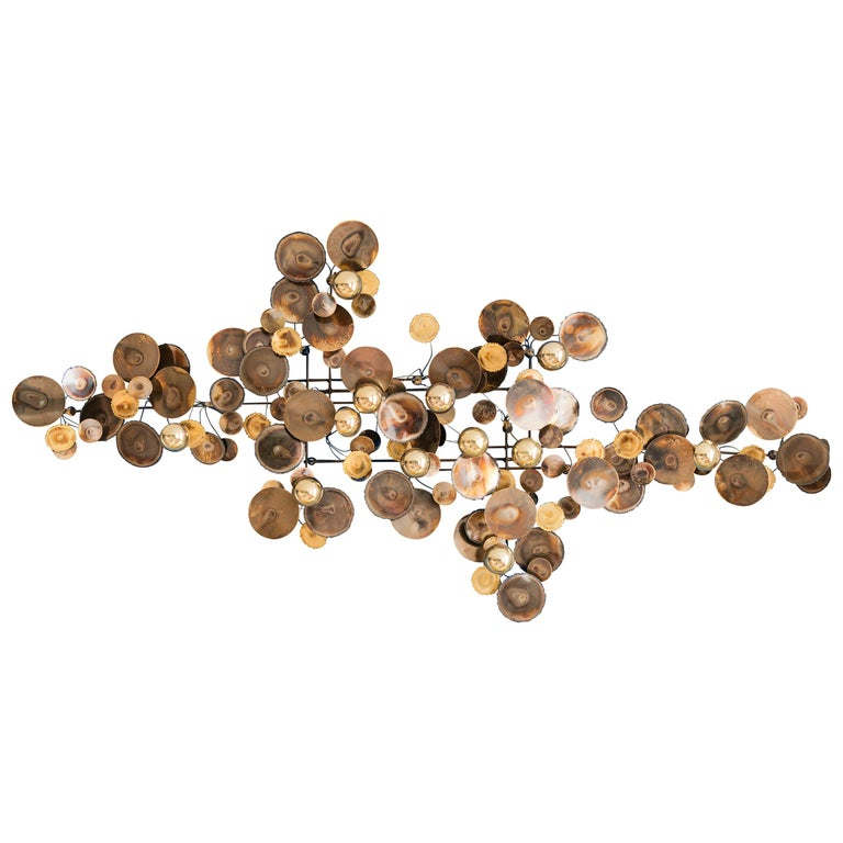 Contemporary Re-Edition Curtis Jere Raindrops Wall Sculpture in Brass For Sale