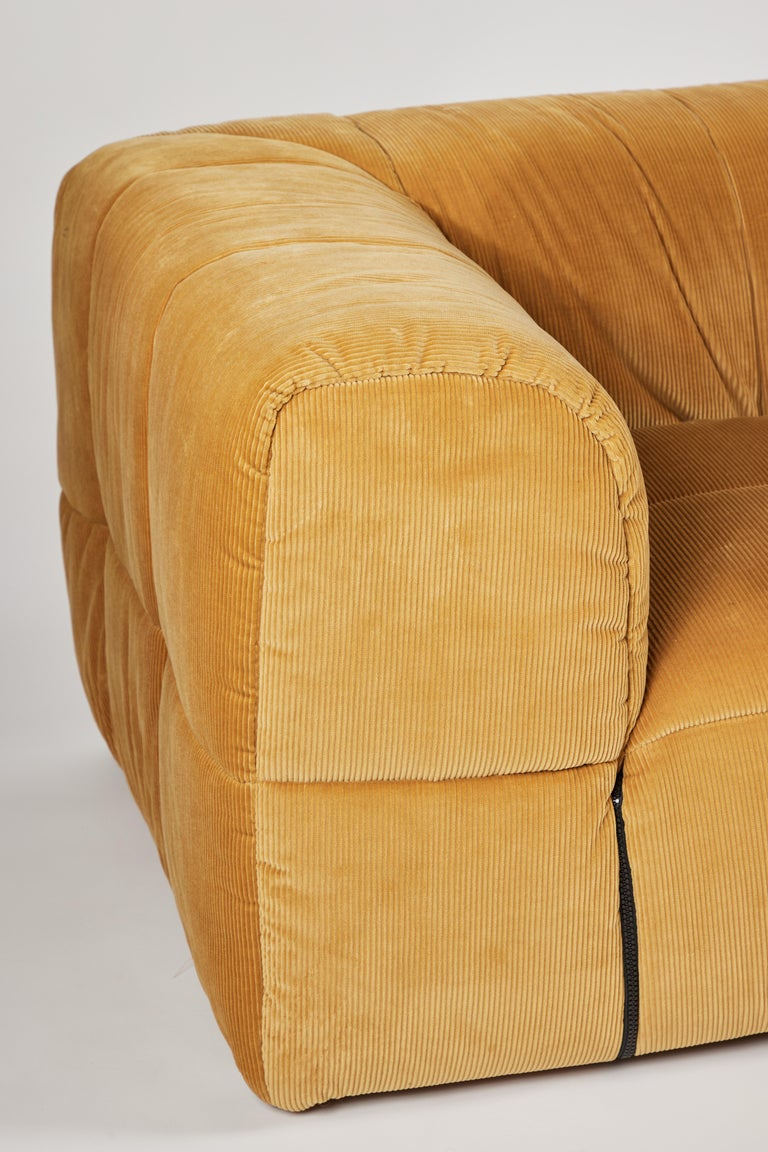 Contemporary 1970s Style Italian Arflex Strips Corduroy Sofas, Set of 2 5