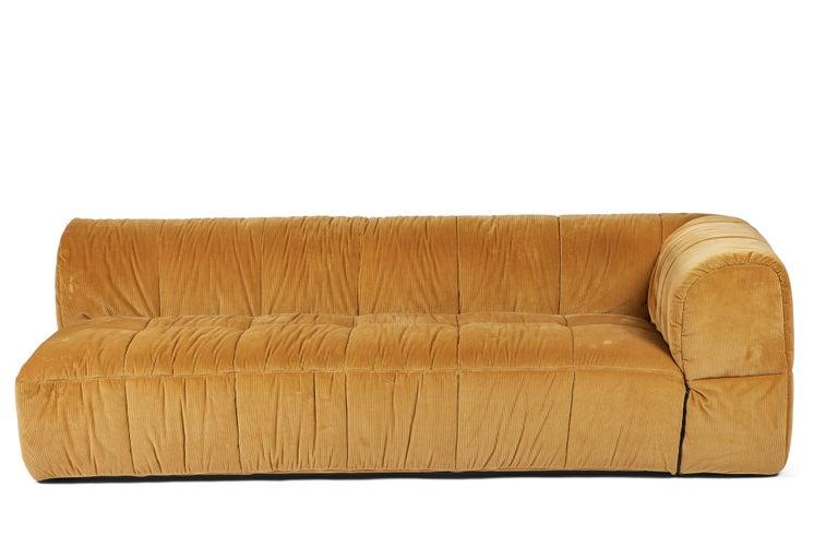 Modern Contemporary 1970s Style Italian Arflex Strips Corduroy Sofas, Set of 2