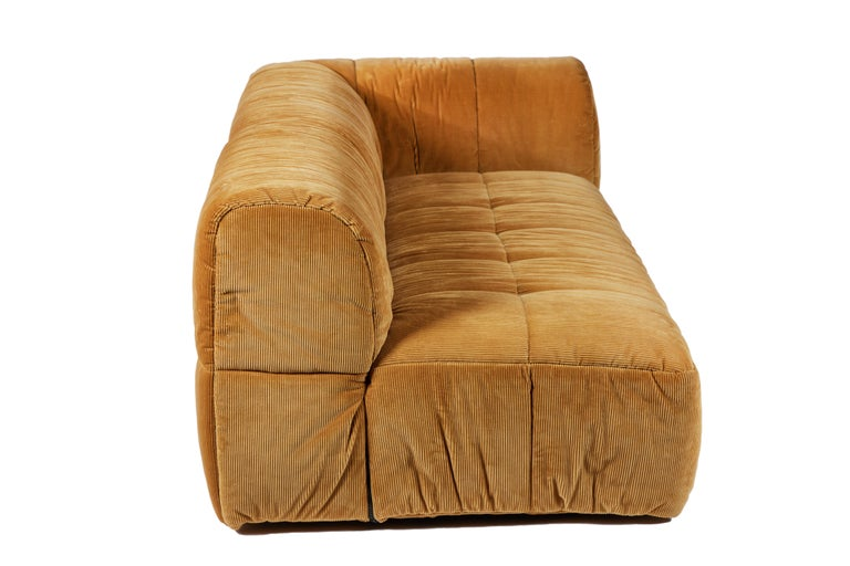 Contemporary 1970s Style Italian Arflex Strips Corduroy Sofas, Set of 2 In Good Condition In Chicago, IL