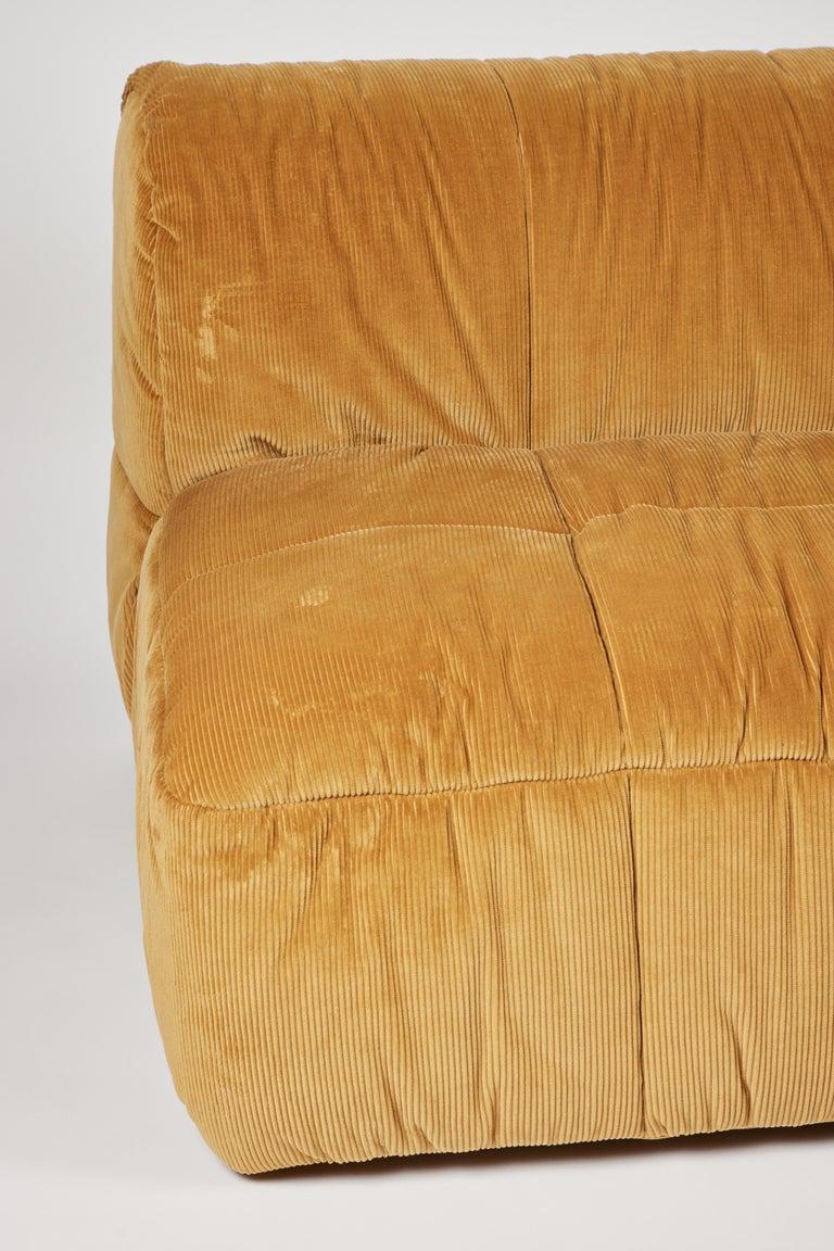 Textile Contemporary 1970s Style Italian Arflex Strips Corduroy Sofas, Set of 2