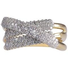 Contemporary 2.0 Carat Diamond Crossover Ring 18 Karat Gold 12.80 Grams