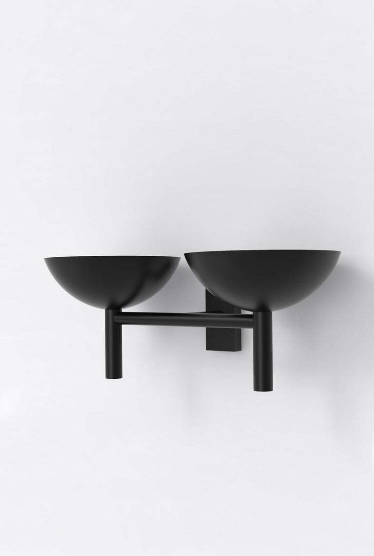Contemporary 200 Double Sconce in Blackened Brass by Orphan Work, 2020 For Sale 2