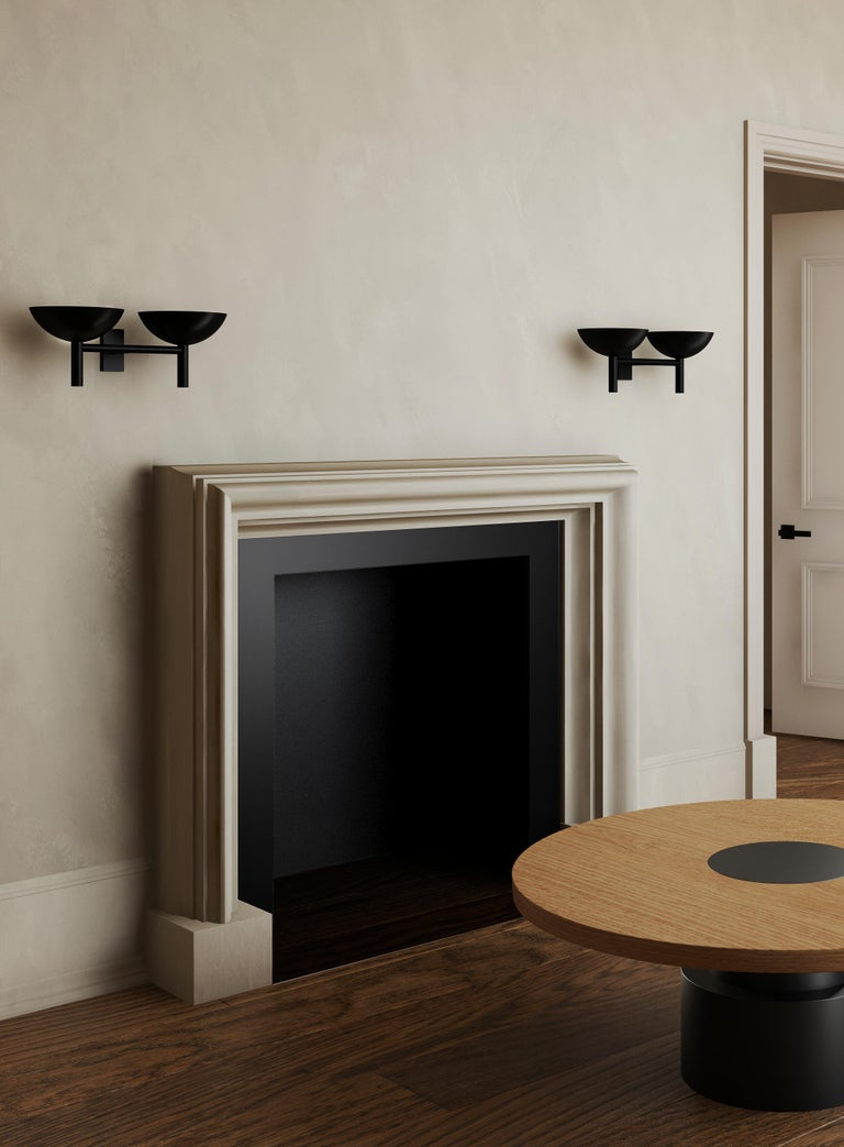 Post-Modern Contemporary 200 Double Sconce in Blackened Brass by Orphan Work, 2020 For Sale