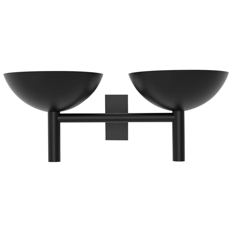 Contemporary 200 Double Sconce in Blackened Brass by Orphan Work, 2020 For Sale