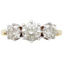 Contemporary 2000s 2.27 carat Diamond and 18 carat Yellow Gold Trilogy Ring