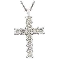 Contemporary 2008 1.65Ct Diamond and White Gold Cross Pendant