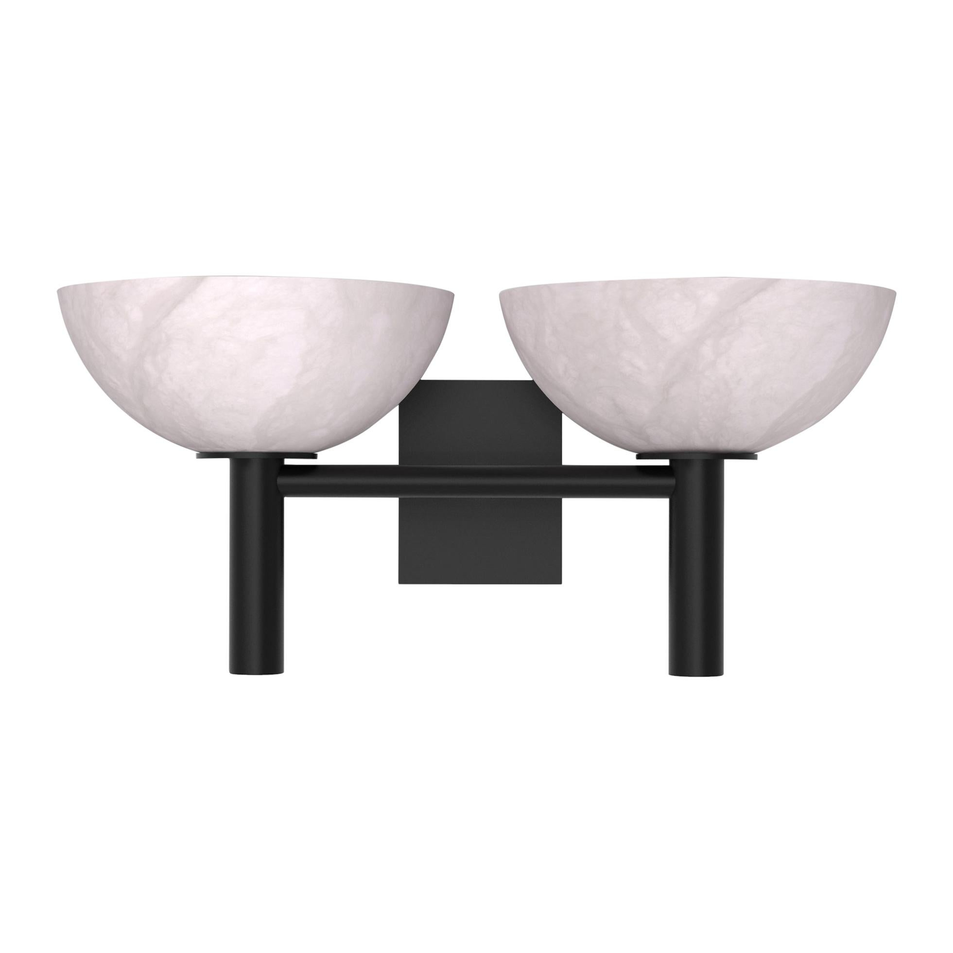 Contemporary 200A Double Sconce in Alabaster by Orphan Work