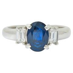 Contemporary 2.08 Carat Sapphire Diamond Platinum Three-Stone Ring