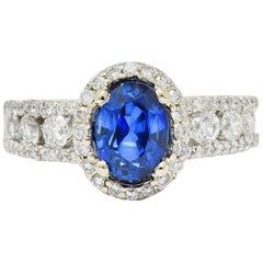 Contemporary 2.31 Carat Sapphire Diamond 18 Karat White Gold Halo Ring