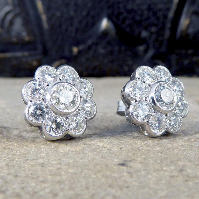 Art Deco Contemporary 2.50 Carat Total Diamond Flower Cluster Earrings in 18 Carat Gold For Sale