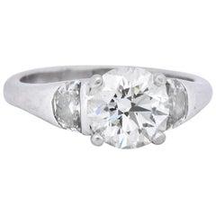 Contemporary 2.51 Carat Round Brilliant Diamond Platinum Engagement Ring GIA
