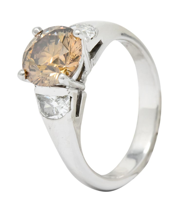 Contemporary 2.75 Carat Fancy Colored Diamond Platinum Engagement Ring GIA For Sale 5