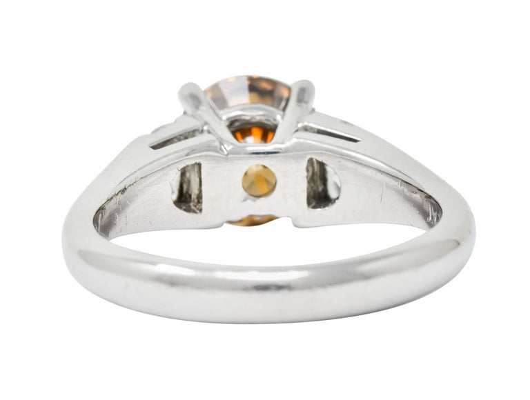 Contemporary 2.75 Carat Fancy Colored Diamond Platinum Engagement Ring GIA In Excellent Condition For Sale In Philadelphia, PA