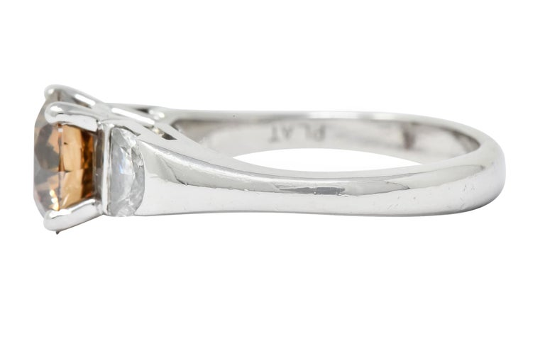 Women's or Men's Contemporary 2.75 Carat Fancy Colored Diamond Platinum Engagement Ring GIA For Sale