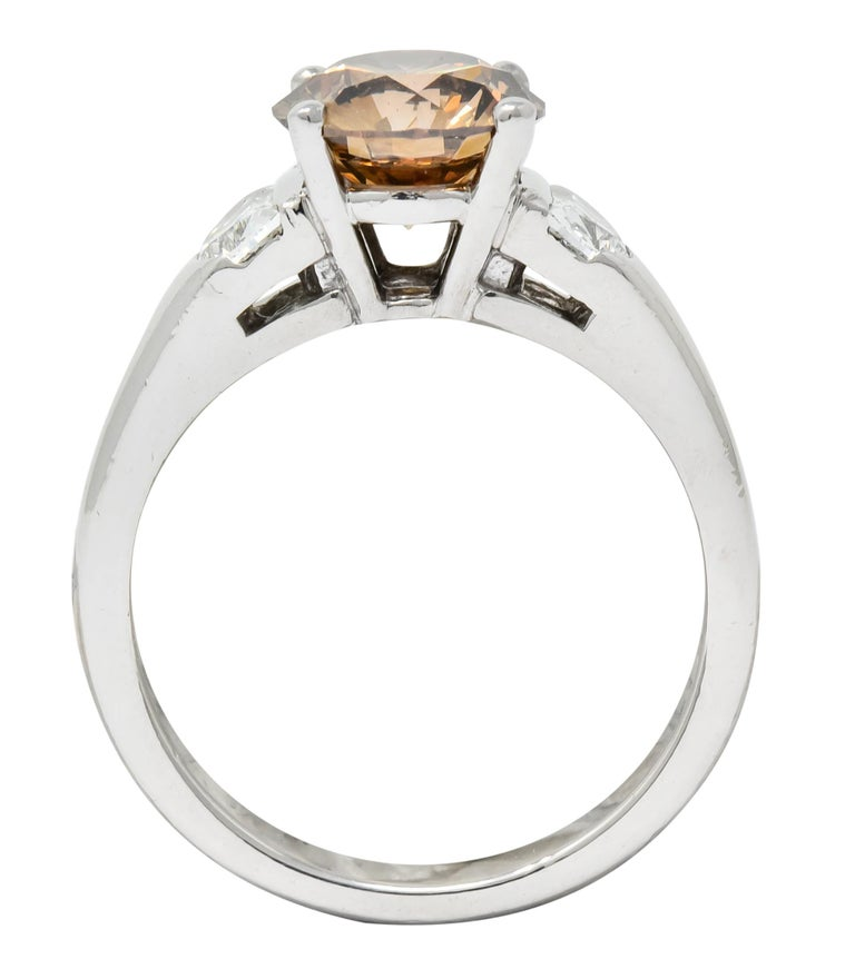 Contemporary 2.75 Carat Fancy Colored Diamond Platinum Engagement Ring GIA For Sale 4