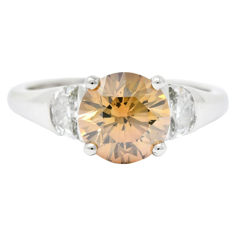 Contemporary 2.75 Carat Fancy Colored Diamond Platinum Engagement Ring GIA For Sale