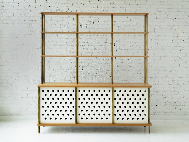 Contemporary 3-Door Strata Credenza in White Oak Wood and Brass by Fort Standard For Sale 5