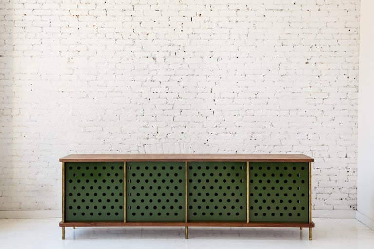 Powder-Coated Contemporary 3-Door Strata Credenza in White Oak Wood and Brass by Fort Standard For Sale