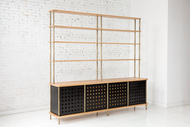 Contemporary 3-Door Strata Credenza in White Oak Wood and Brass by Fort Standard For Sale 4