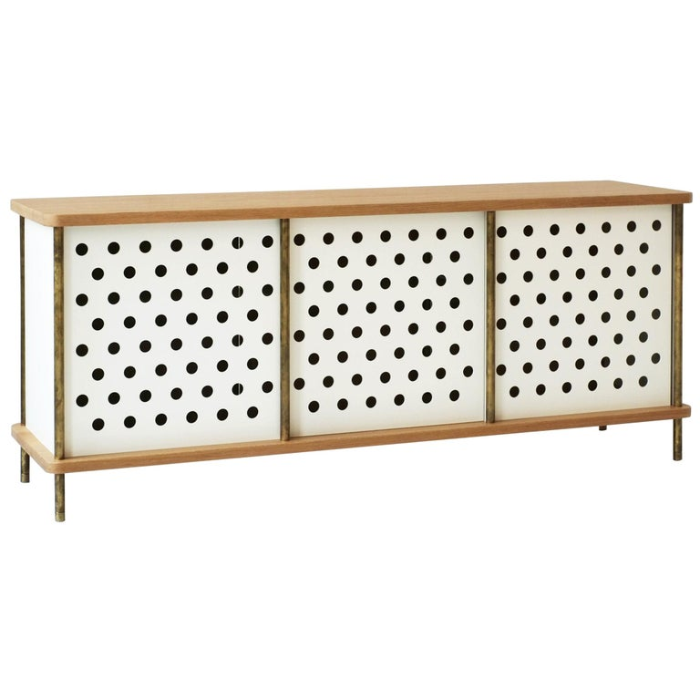 Contemporary 3-Door Strata Credenza in White Oak Wood and Brass by Fort Standard For Sale