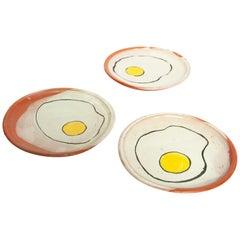 Contemporary 3 Medium Egg Plates Ceramic Clay Handmade Mexican