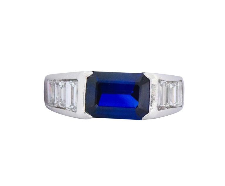 Modern Contemporary 3.32 Carat Sapphire Diamond Platinum Band Ring For Sale