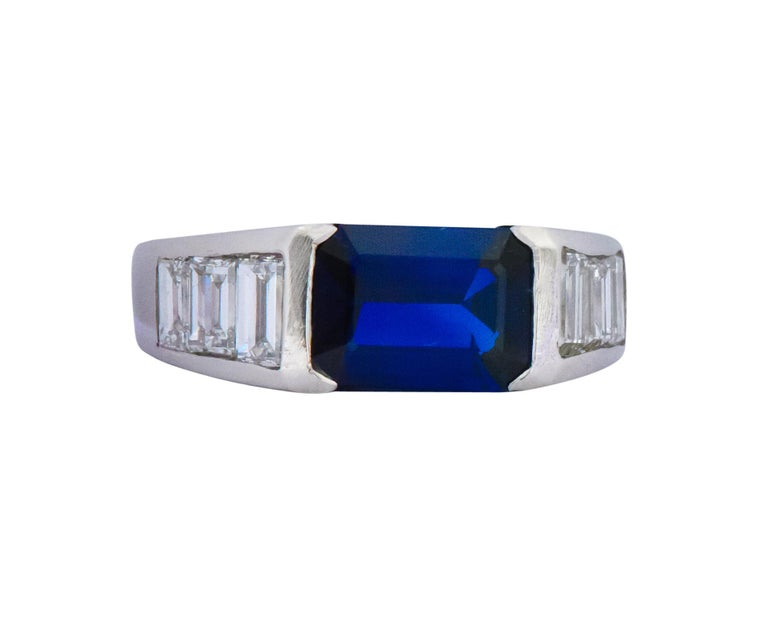 Contemporary 3.32 Carat Sapphire Diamond Platinum Band Ring For Sale 1