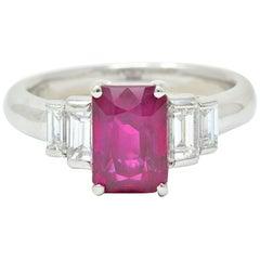 Contemporary 3.49 Carat Burma Ruby Diamond Platinum Stepped Statement Ring GIA