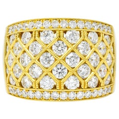 Contemporary 3.50 Carat 18 Karat Gold Wide Band Ring