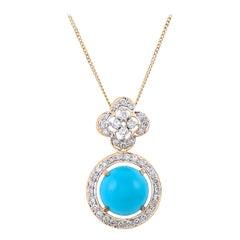 Contemporary 3.61 Carat Turquoise and Diamond 18 Karat Yellow Gold Pendant