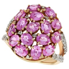 Contemporary 3.99 Carat Pink Sapphire and Diamond Yellow Gold Cocktail Ring