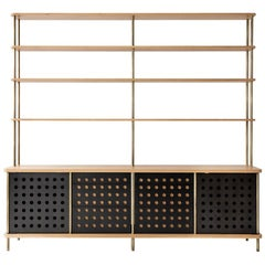Contemporary 4-Door Strata Credenza in White Oak Wood and Brass by Fort Standard
