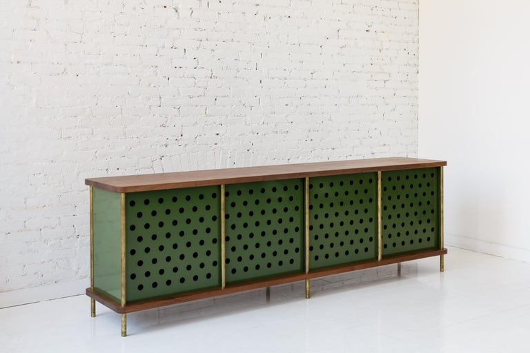 Powder-Coated Contemporary 4-Door Strata Credenza, Walnut, Brass, Green Doors by Fort Standard For Sale