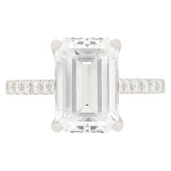 Contemporary 4.08 Carat Emerald Cut Diamond Solitaire