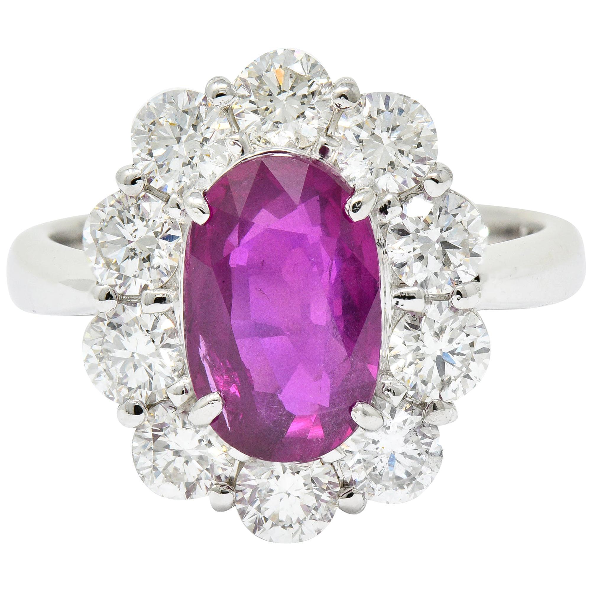 Contemporary 4.66 Carat No Heat Ruby Diamond Platinum Cluster Ring GIA