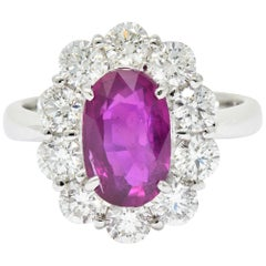Contemporary 4.66 Carat No Heat Ruby Diamond Platinum Cluster Ring GIA