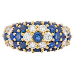 Contemporary 5.06 Carat Sapphire Diamond 18 Karat Gold Bombay Floral Band Ring