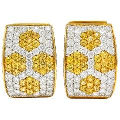 Contemporary 5.42 Carat Diamond Sapphire Platinum 18 Karat Gold Huggie Earrings