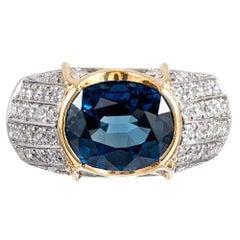 Contemporary 5.52 Carat Sapphire and Diamond Ring