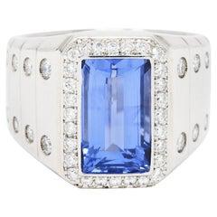 Contemporary 7.32 Carats Sapphire Diamond Platinum Unisex Men's Ring