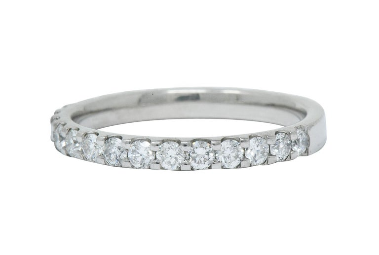 Contemporary .75 Carat Diamond Platinum Anniversary Band Ring In Excellent Condition In Philadelphia, PA
