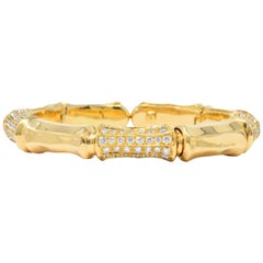 Contemporary 7.50 Carat Diamond 18 Karat Gold Flex Bangle Bracelet