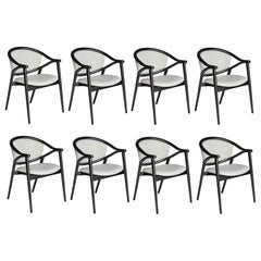 Contemporary 8 Dining Chairs in Black Matt Lacquer