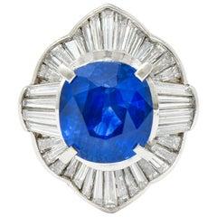 Contemporary 9.73 Carat Ceylon Sapphire Diamond Platinum Ballerina Halo Ring AGL