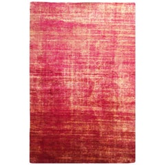 Contemporary Abrashed Red Pink and Gold Silk and Cotton Rug by Rug & Kilim
