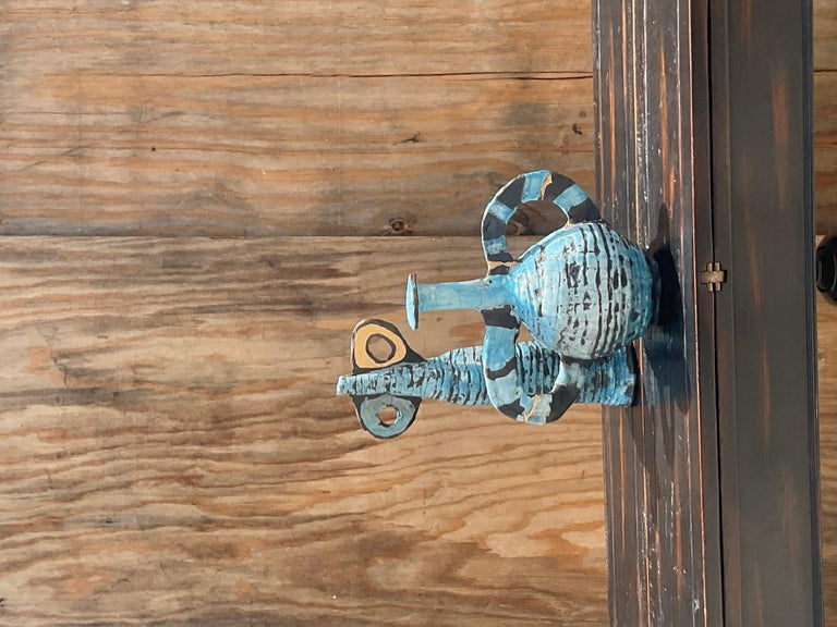 Ceramic Contemporary Abstract Absurdism Raku Fired Pottery Signed Heck For Sale